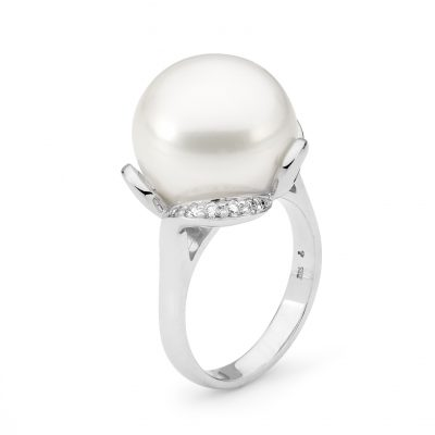 White Gold, Pearl And Diamond Ring