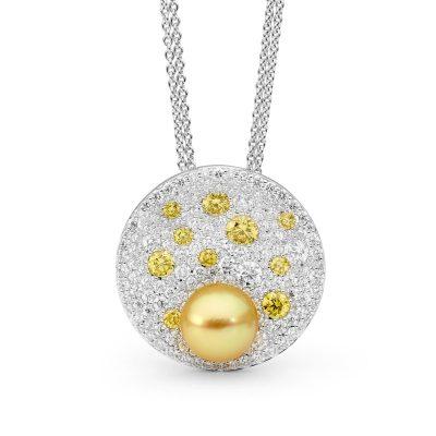 White Gold, Pearl And Diamond Pendant