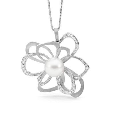 White Gold, Pearl And Diamond Enhancer Pendant