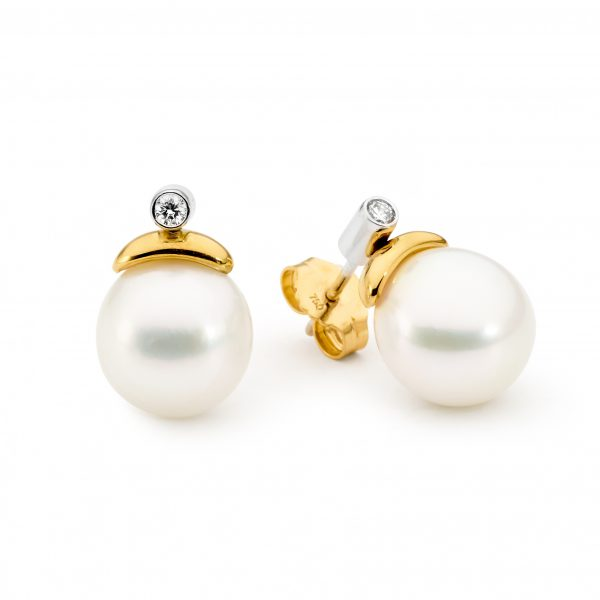 Yellow Gold Pearl And Diamond Earrings