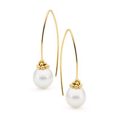 Yellow Gold Pearl Earrings