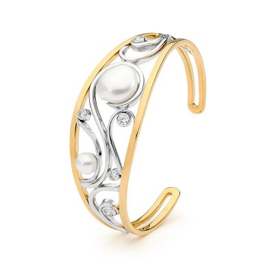 Yellow And White Gold, Pearl Swirl Bracelet