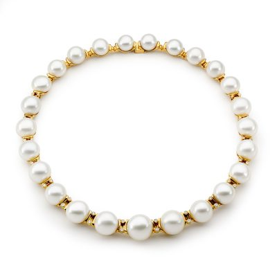Yellow Gold, Pearl And White Diamond Necklace