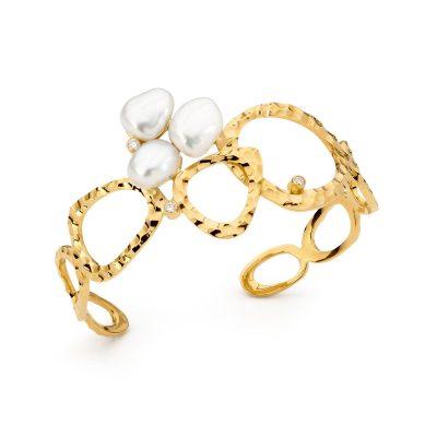 Yellow Gold, Pearl And Diamond Cuff