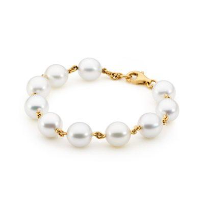 Yellow Gold Pearl Bracelet