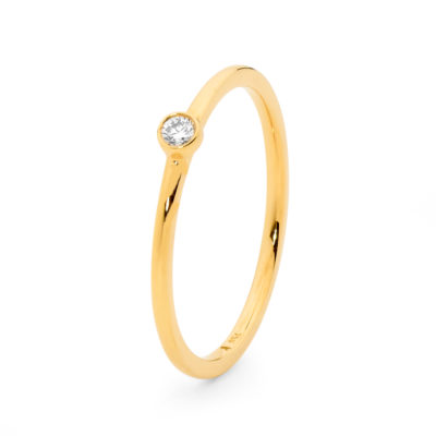 Yellow Gold Rounded Diamond Ring