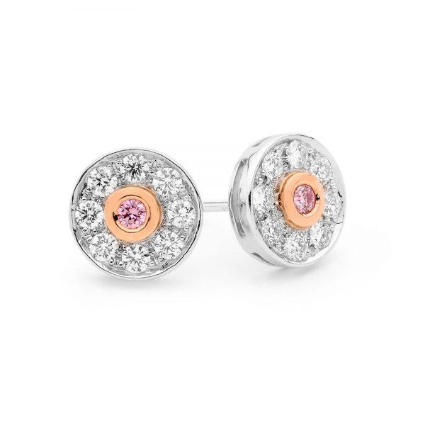 white and Argyle pink diamond stud earrings