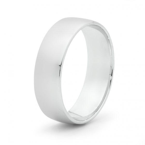 mens white gold barrell ring