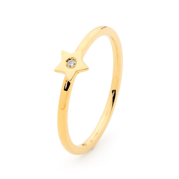 Gold Star Stack Ring
