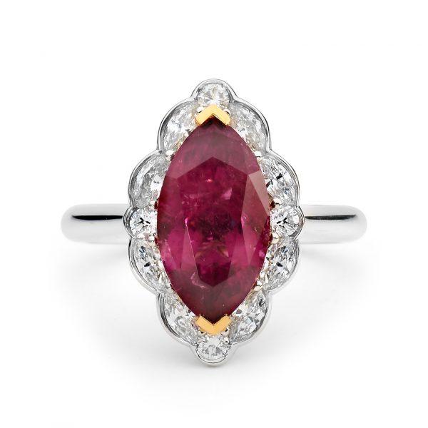 pink tournaline diamond ring