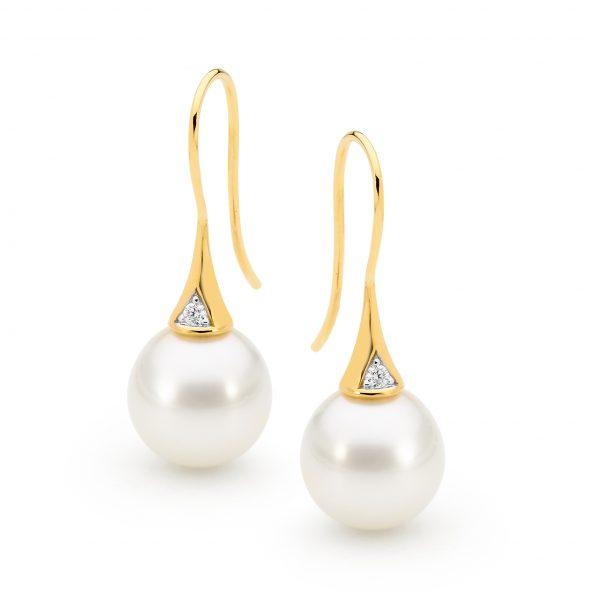 Diamond Pearl Hook Earrings Gold