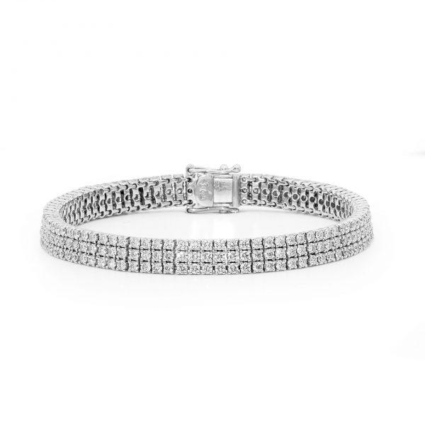 three row tennis bracelet