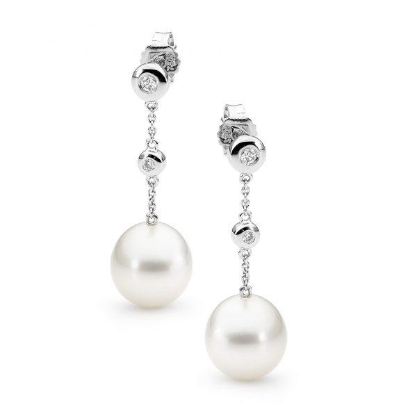 bezel set drop earrings